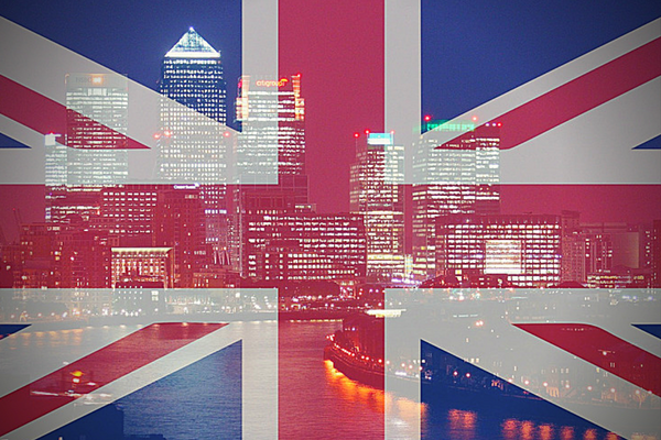 Image of ;ondon with the Union Jack