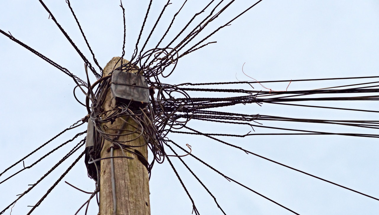 chaotically wired power pole